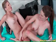 Big Boobs Babes Share Double Dildo In Lesbian Sex
