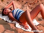 Beautiful Redhead Beach Masturbates