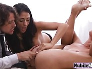Lusty Brunette Mom Pleasures Her Sexxy Young Daughter With One H