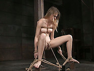 Leggy Buxom Blond Nympho Is Tied Up With Ropes And Teased With T