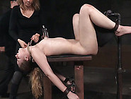 Skinny White Brunette Bitch Shackled On The Bench And Clamped Wi
