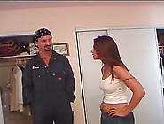 Naughty Housewife Seduces A Plumber For A Quick Drilling Game