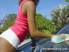 Ebony Babe Raven Wylde Gets Her Booty Washed