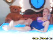 Horny Big Tittied Blonde Plays With Squirting Dildo