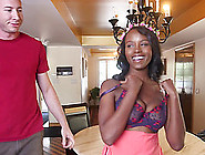 Ebony Pornstar Gets Cum On Her Tits After Riding Her White Stud