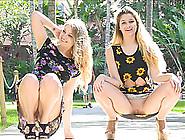 Public Pussy Flashing Girls In Pretty Floral Dresses