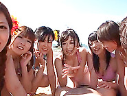 Fabulous Ryu And Six Gfs Go Hardcore On The Beach