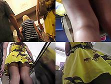 Thong Upskirt Footage Of A Hot Brunette's Ass
