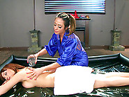 Horny Lesbian Masseuse Can't Resist Seducing A Busty Sapphic Bea