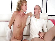 A Granny Rides A Young Cock With Her Flabby Old Pussy Lips