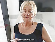Naughty Blonde Granny Took Off Her Sexy,  Red Outfit And Started