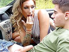 Ava Austen Stops Driving The Car To Enjoy The Deepest Penetratio