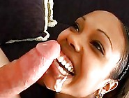 Black Chick In Headband Gets White Cum In Mouth