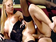 Blonde Girl In Black Lingerie Swallows Man's Cum After Hot