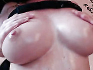 Webcam Busty Brunette Babe Plays With Her Juicy Round Boobs At H