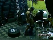 Mechanic Pulls Panties Aside & Fucks Latina Gf