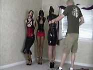 Three Girls In Tight Latex And Leather Bondage