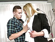 Busty Blonde Mature Is Fucking Hard With A Young Boy In A Plaid