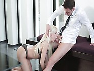 Platinum Blonde Gags On A Dick And Gets Laid In The Office