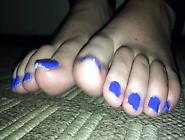 1Fuckdatecom Bbw Feet Toe Wiggle Blue Nailpo