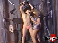 Lesbian Femdom Plays With Her Restrained Submissive