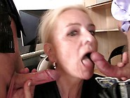 Couple Guys Share Mature Blonde Inside A Office