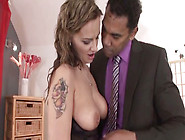 Lecherous Bitch With Huge Tits Sucks And Rides Black Cock