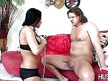 Seductive Brunette In Black,  Fishnet Stockings,  Audrey Bitoni Is