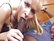 Blonde Milf With Black Guy Takes Big Black Cock In Her Mouth And