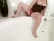 Curvy Milf Rides A Black Dildo And Squirts