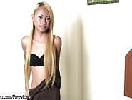 Shy Blonde Ladyboy Strips Naked And Masturbates Till Orgasm