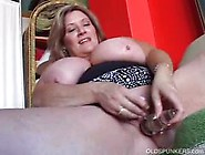 Sexy Bbw Milf With Huge Tits Teases Fat Pussy With Dildo