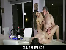 Hot Teens Fucked In Sensual Old Young Threesome With Cum Swap Bl