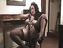 My Awesome Brunette Wife Masturbates Her Pussy In The Living Roo