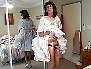 Michelle Jerking Off In Pink Satin Dress Petticoat