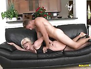 Pretty Blonde Milf Lady Getting Good Fuck On The Couch