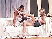 Stunning Blue Angel Fucking A Dude With A Serious Foot Fetish
