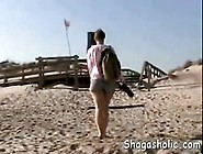 Flashing Pussy At A Public Beach -
