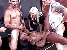 Black Skank Gets Fucked By A Group Of Studs And Enjoys It A Lot