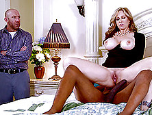 Interracial Cuckold Scene Along A Steamy Blonde Getting Drilled