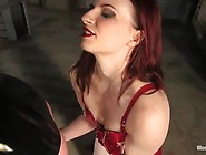 Mistress Inside Scarlet Latex Bodysuit Tortures Guy's Pisser
