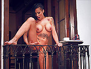 Busty Mom Squirts From Her Balcony