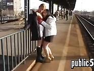 Lesbians Pissing Around In Public