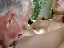 Oldje - Petite Babe Takes A Rough Boning From Grandpa Outdoors