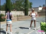 Minka And Her Friend Play Tennis Topless With Their Huge Breasts
