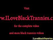 Black Tgirl Tranny Jerking Off Her Hard Cock