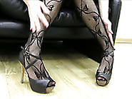 Lusty Brunette Tramp In Sexy Pantyhose Shows Off Her Feet On Cam