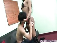 Black Shemale Cums On Guy