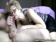 Blonde Mature Gets Young Dudes Money Shot On Her Chin
