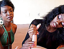 Two Ebony Ladies Battle With One Large White Dick In Pov Video